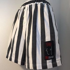 Red Eraser 90's Striped Pull On Shorts
